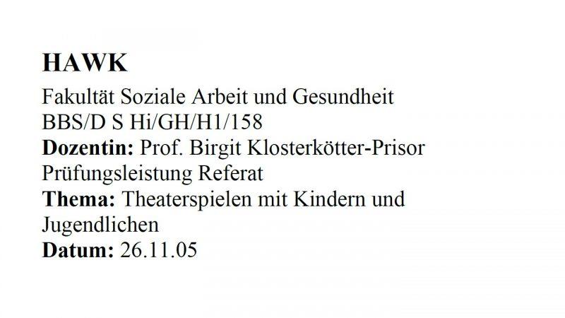 """Referat """"Theaterspielen mit Kindern und Jugendlichen"""" - Deckblatt"""