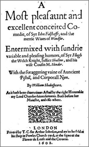 Shakespeares Die lustigen Weiber von Windsor: Titelblatt von 1602