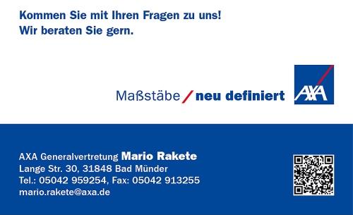 Sponsorenanzeige: Axa Generalvertretung Mario Rakete