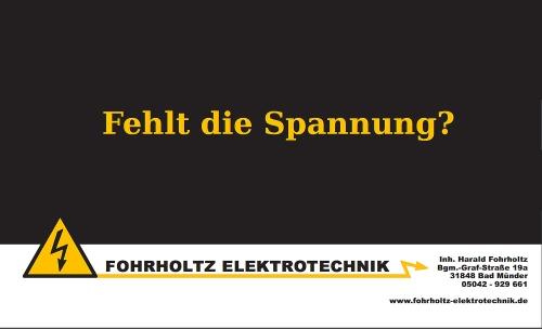 Sponsorenanzeige: Fohrholtz Elektrotechnik - Fehlt die Spannung?