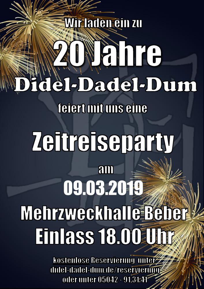 Einladung Zeitreiseparty 20 Jahre DDD 2019